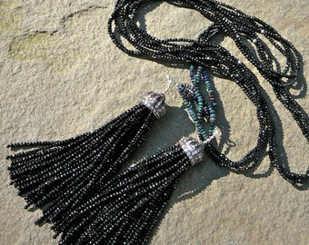 Tassel Necklace,Beaded Lariat Necklace,Sterling Tassel Bead Caps,Gemstone Necklace,Tassel Necklace,Long Tassel Necklace,Black Gem Lariat