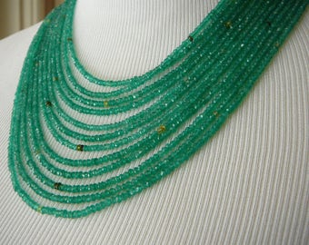 Green Necklace,Green Onyx Necklace,Multi Strand Gemstone Necklace,Emerald Necklace,Emerald Jewelry,Peridot Necklace,Peridot Jewelry,
