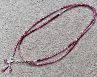 Ombre Pink Tourmaline Wrap Necklace,Tourmaline Bracelet,Ombre Pink Gemstone Wrap Bracelet,Multi Strand Wrap Bracelet,Tourmaline Jewelry,