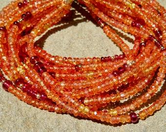 Sapphire Bracelet, Orange Sapphire Jewelry, Padparadscha Sapphire, Multi Strand Gemstone Bracelet, Red Spinel Jewelry, Spinel Cuff Bracelet