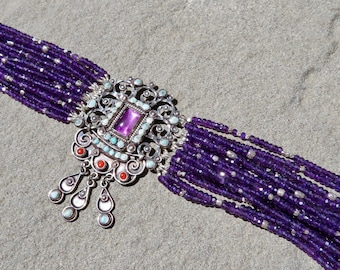 SOLD/Reserved for S.Conn: Taxco Jewelry, Matl Style Jewelry, Matilde Poulat Style Bracelet, Repurposed Brooch Bracelet, Mexican Jewelry