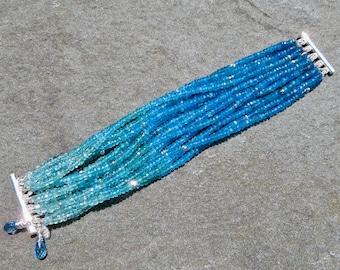 Apatite Multi Strand Bracelet,Multi Strand Gemstone Bracelet,Apatite Jewelry,Blue Ombre Gemstone Cuff,Apatite  Cuff Bracelet,Apatite Jewelry