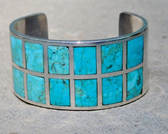 Turquoise Cuff,Turquoise Inlay Silver Bracelet,Native American Turquoise Jewelry,Vintage Navajo Turquoise Silver Bracelet,Turquoise Jewelry