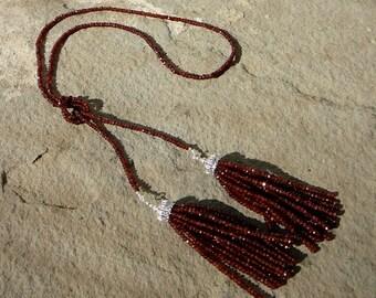 Lariat Tassel Necklace,Tassel Necklace,Tassel Jewelry,Gemstone Necklace,Mozambique Garnet,Garnet Necklace,Garnet Jewelry,Gemstone Necklace