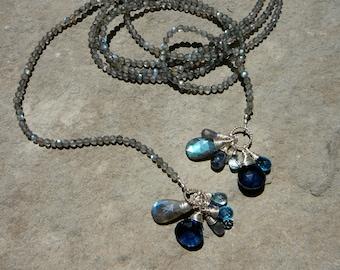 Labradorite Necklace,Labradorite Jewelry,Gemstone Necklace,Lariat Necklace,Long Lariat Necklace,Long Wrap Necklace,Briolette Gem Necklace