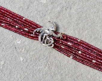 Multi Strand Garnet Bracelet, William Kerr Jewelry, Repurposed Brooch Bracelet, Multi Strand Gemstone Bracelet, Sterling Art Nouveau Jewelry