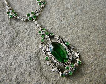 Emerald Green Glass Necklace,Marcasite Necklace,Art Nouveau Jewelry,Emerald Glass Vintage Pendant,Art Deco Marcasite,Emerald Glass Jewelry