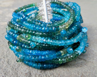 Apatite Bracelet,Multi Strand Gemstone Jewelry,Multi Color Gemstone Bracelet,Apatite Jewelry,Multi Strand Gemstone Bracelet,Blue Green Cuff