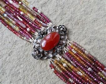 Peruzzi Style Jewelry, Multi Strand Gemstone Bracelet, Tunduru Sapphire, Repurposed Peruzzi Brooch Bracelet, Art Nouveau Art Deco Jewelry,