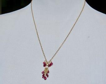 Garnet Necklace,Briolette Necklace,Wire Wrapped Briolette Necklace,Delicate Chain Necklace,Gemstone Necklace,Gold Necklace,Dangle Necklace