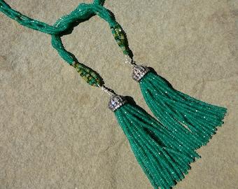 Green Gemstone Necklace,Green Necklace,Tassel Necklace, Green Onyx Necklace,Chrome Tourmaline Necklace,Lariat Necklace,Peridot Necklace