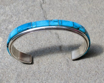 Vintage Native American Jewelry, Navajo Turquoise, Turquoise Bracelet, Turquoise Jewelry, Turquoise Cuff, Channel Inlay, Navajo Jewelry