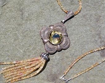 Tassel Necklace,Vintage Theodor Fahrner,Citrine Pendant,Imperial Topaz Gemstone Necklace,Art Deco Jewelry, Topaz Gemstone Tassel Necklace