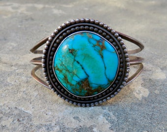 Navajo Turquoise Cuff,Vintage Native American Bracelet,Navajo Jewelry,Old Pawn Turquoise Cuff,Turquoise and Silver Bracelet,TurquoiseJewelry