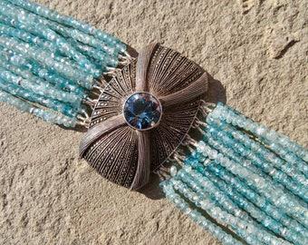 Vintage Fahrner Brooch Bracelet,Repurposed Brooch Jewelry,Multi Strand Gemstone Bracelet,Blue Zircon Gemstone Bracelet,Deco Jewelry Cuff