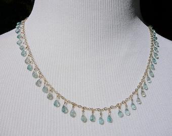 Briolette Necklace,Delicate Necklace,Briolettes,Blue Zircon Jewelry,Zircon Necklace,Blue Briolette Necklace,Gemstone Necklace,Zircon Gems