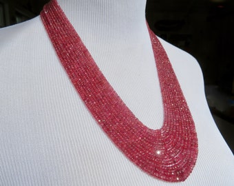 Red Spinel Necklace, Multi Strand Gemstone Necklace, Red Spinel Jewelry, 14K Gold and Gemstone Waterfall Necklace, Red Gemstone Necklace