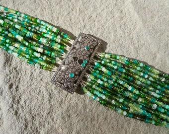 Multi Strand Green Gemstone Bracelet,Repurposed Art Deco Brooch Bracelet,Repurposed Brooch Jewelry,Emerald,Tourmaline,Peridot,GarnetBracelet
