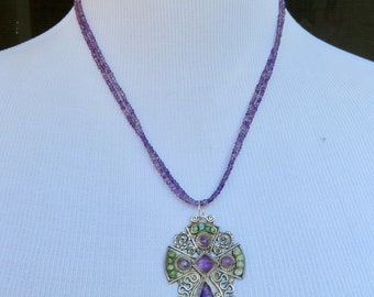Taxco Jewelry, Matl Style Cross Necklace, Mexican Jewelry, Amethyst Jewelry, Cross Necklace, Vintage Taxco Necklace, Turquoise Jewelry