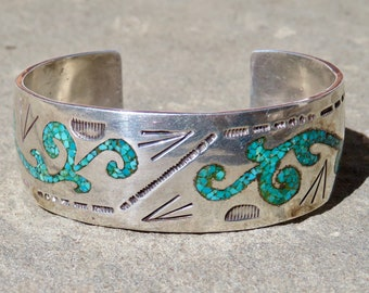 Navajo Bracelet, Navajo Jewelry, William Singer Turquoise, Native American Jewelry, Silver Cuff, Turquoise Bracelet,Turquoise Inlay Bracelet