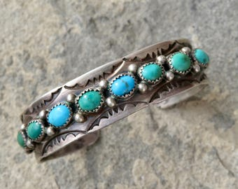 Turquoise Native American Cuff,Turquoise Jewelry,Turquoise Row Bracelet,Vintage Turquoise Rose Castillo,Navajo Signed Bracelet,