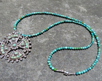 Matl Style Necklace, Turquoise Jewelry, Matl Style Jewelry, Turquoise Maltese Cross Pendant Necklace, Taxco Silver, Taxco Jewelry, Mexican