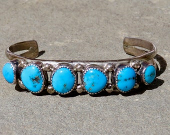 Turquoise Cuff,Native American Turquoise Jewelry,Turquoise Row Bracelet,Navajo Turquoise,Navajo Jewelry,Old PawnTurquoise Bracelet,Navajo