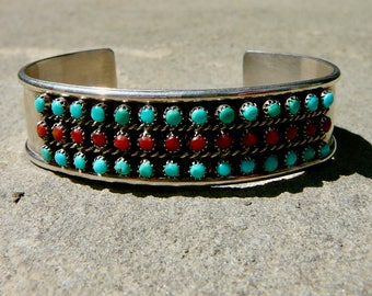 Turquoise Snake Eye Cuff, Native American Turquoise,Vintage Zuni Turquoise Coral Bracelet,Turquoise Coral Jewelry,Signed Zuni Turquoise Cuff