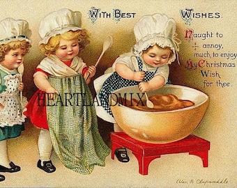Vintage Christmas Digital Image Download Printable Ellen Clapsaddle 3 Girls Cooking/Baking
