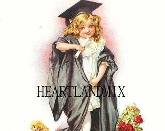 Girl Graduate Digital Image Download Printable Art Graduation Card