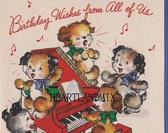 Vintage Happy Birthday From All Of US Greeting Card Image Download Printable