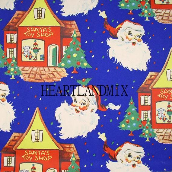 Vintage Retro Holiday Christmas Wrapping Paper Digital Image Santa's Toy Shop Download Printable
