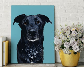 Custom Pet Portrait From Photos Printed On A Stretched Canvas