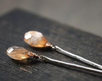Sun Stone Round Coin Earrings