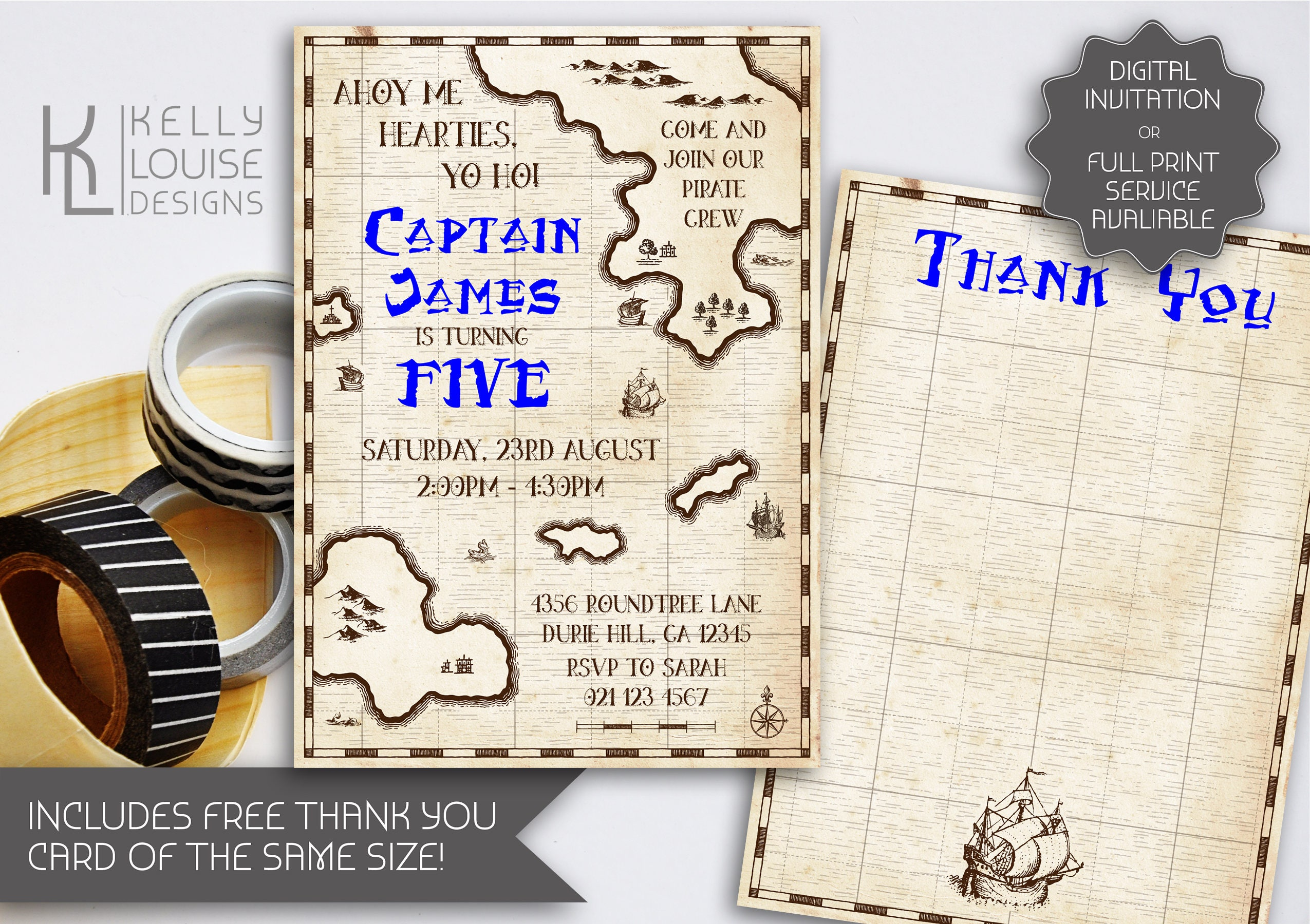 Treasure Map Birthday Invitation | Printable Invitation | Pirate ...