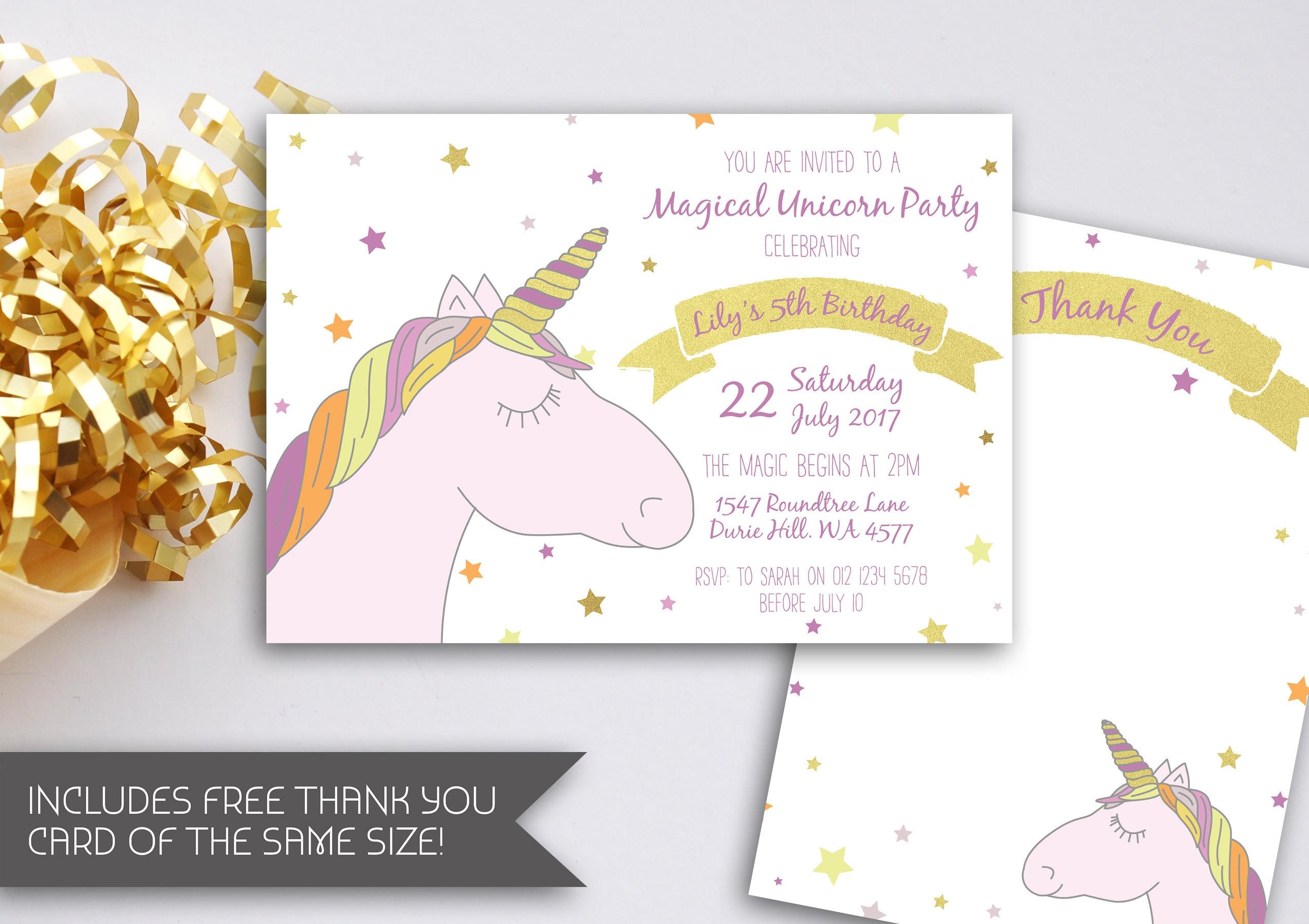 Gold Unicorn Birthday Invitation