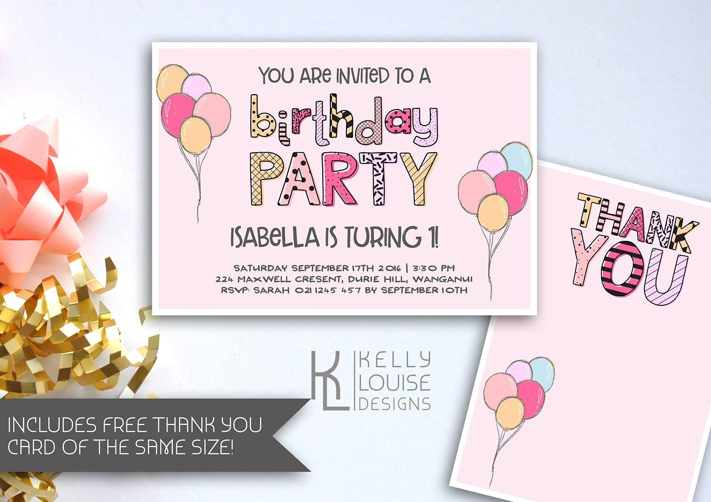 Pink Balloon Birthday Party Invitation | Doodle Style Invitation ...