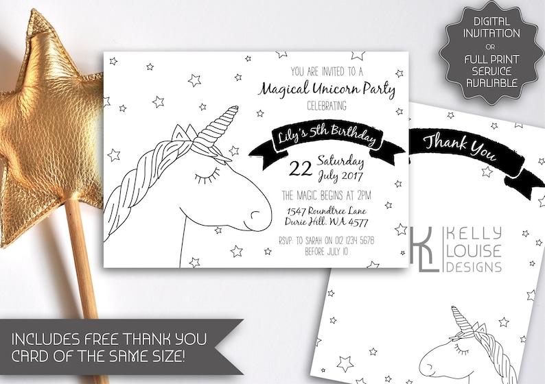 Black White Unicorn Invitation Printable Invitation