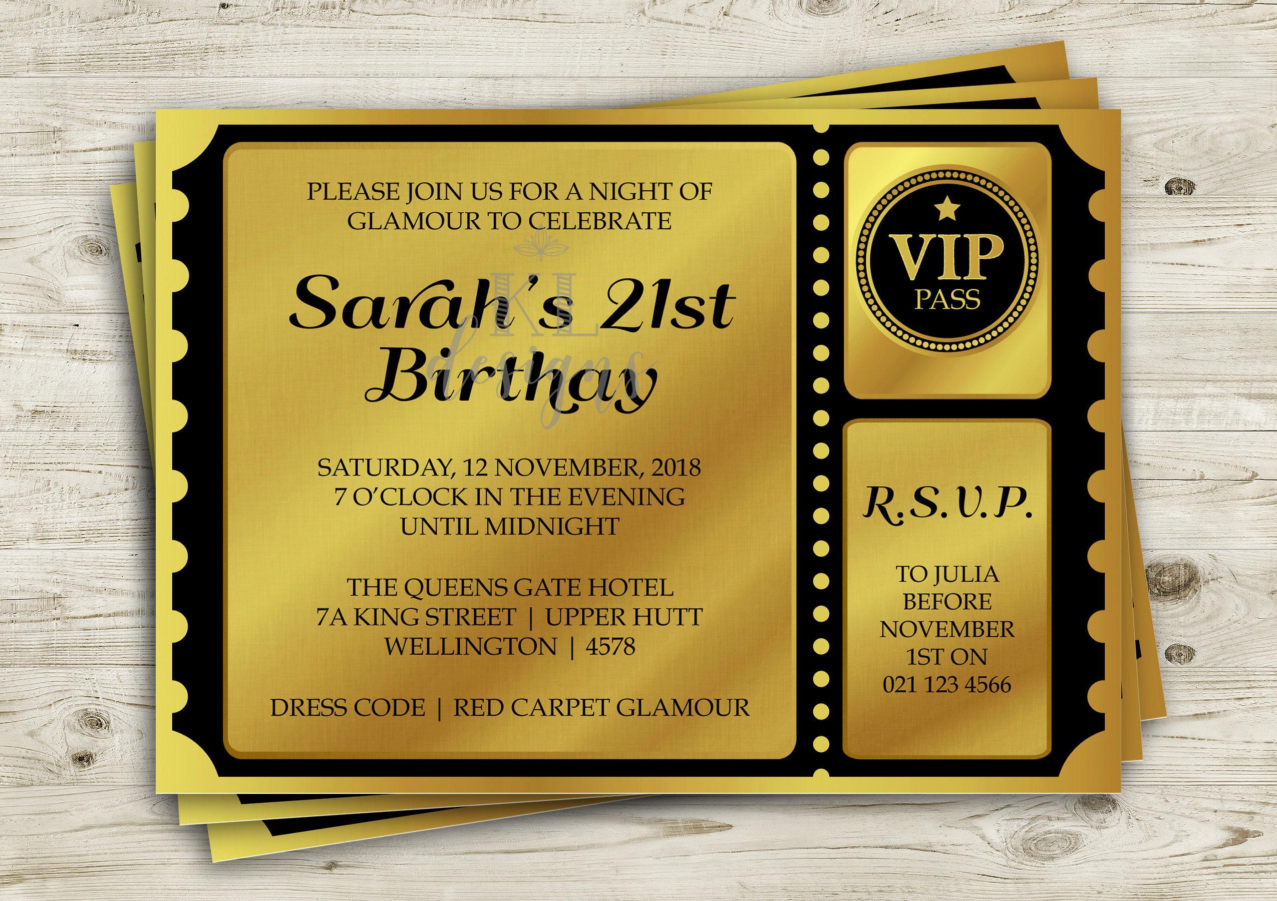 Golden Ticket Birthday Invitation | Printable Invitation | Ball ...