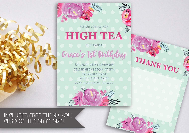 high tea birthday invitation printable invite watercolour high