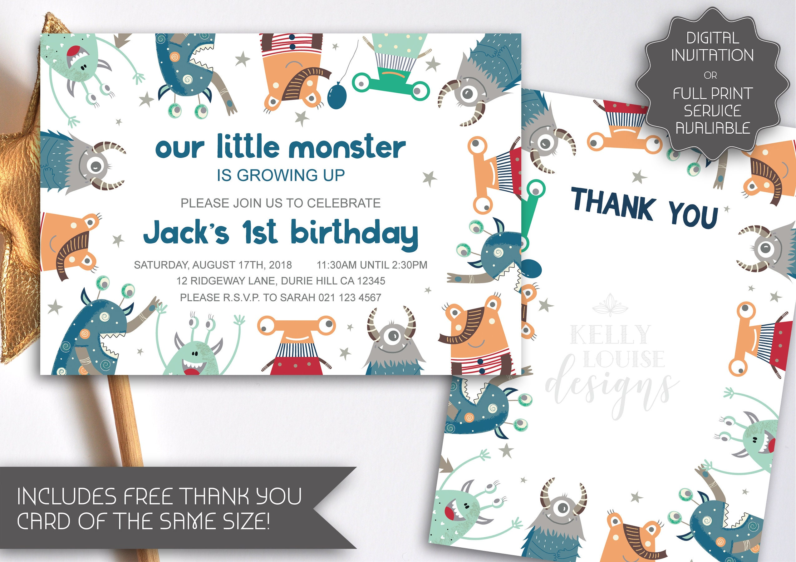 Monster Party Invitation | Monster Birthday | Cute Monster ...