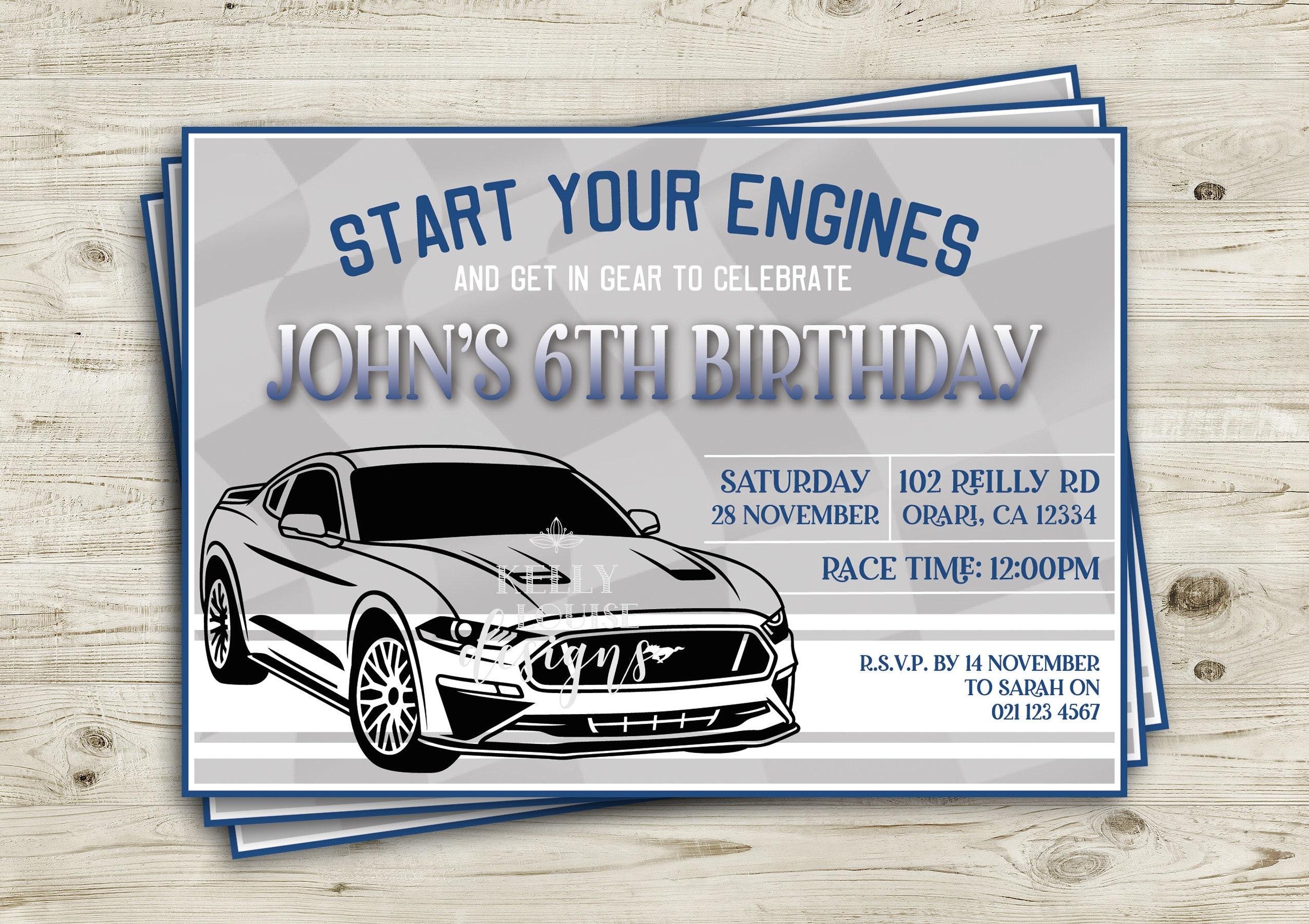 Mustang Birthday Invitation | Ford Mustang | Car Invitation | Racing ...