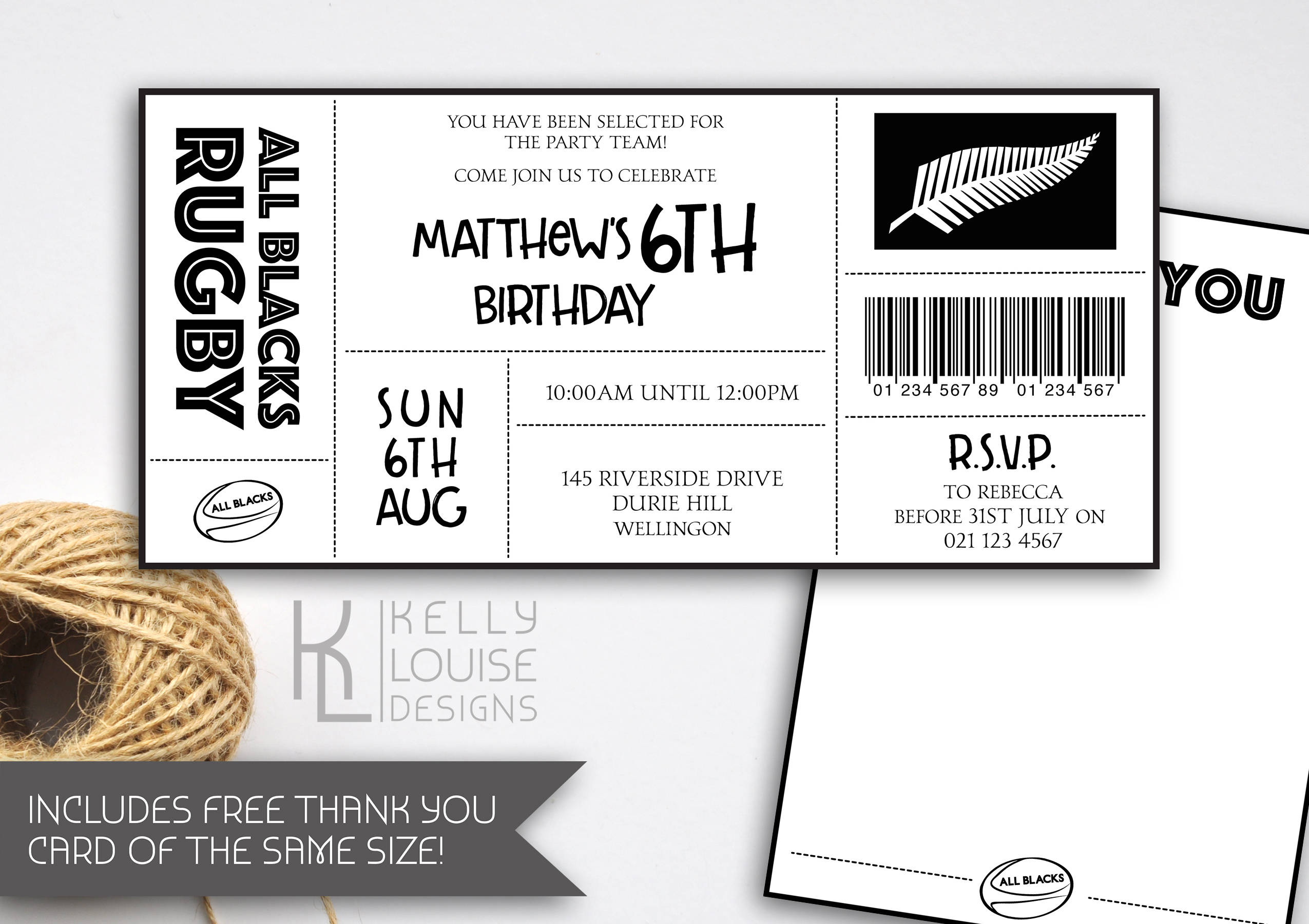 All Blacks Birthday Invitation Rugby Birthday Party All | Etsy