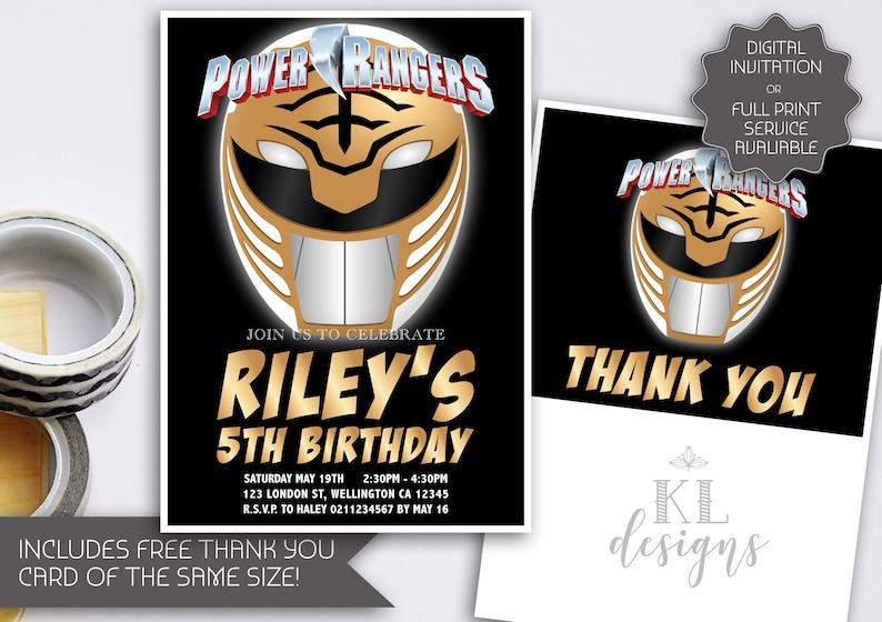Power Rangers Birthday Invitation Gold Ranger