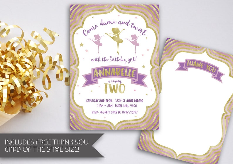 Ballerina Birthday Invitation Ballet Party