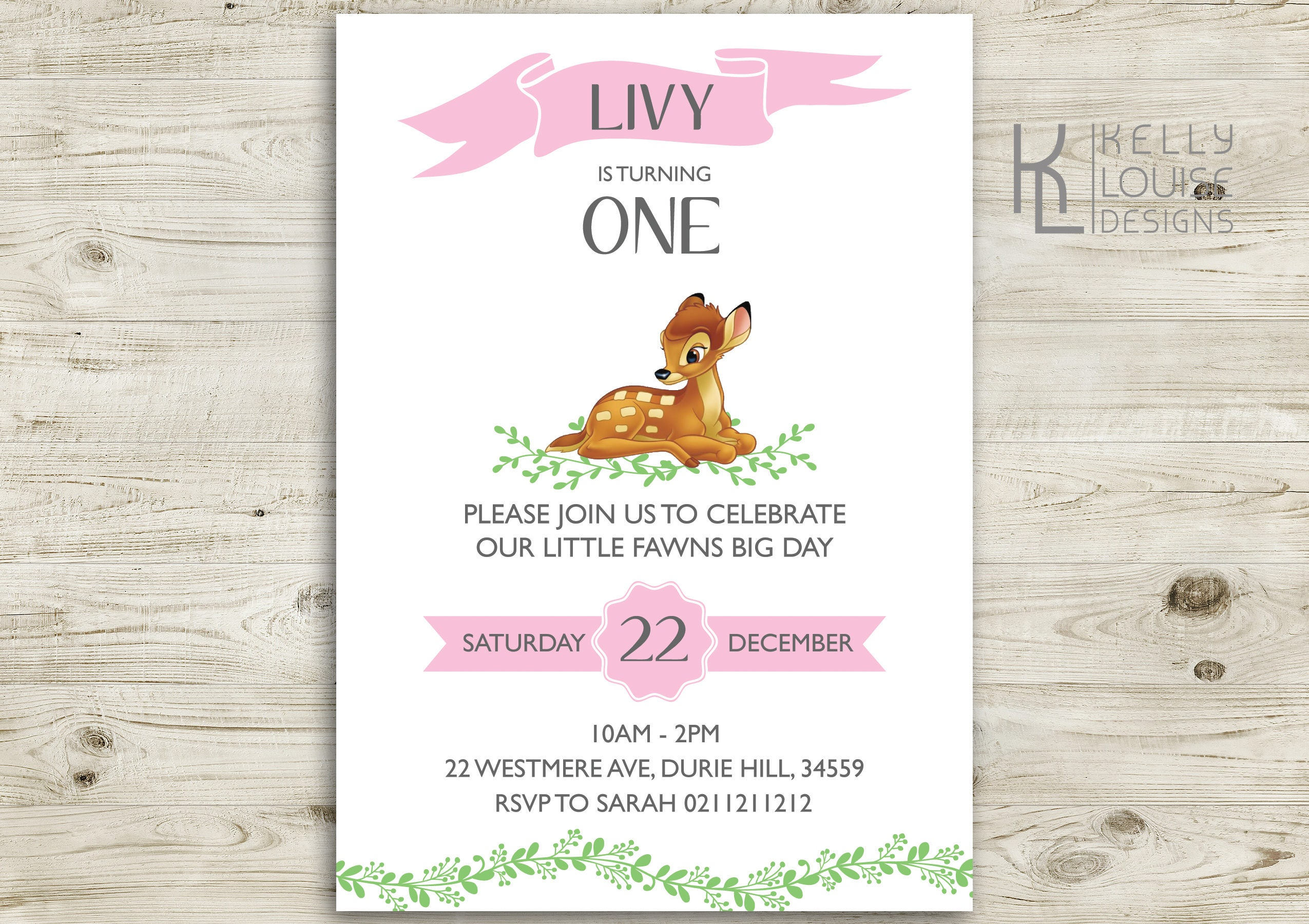 Bambi Birthday Invitation | Free Thank You Card | Printable Bambi ...