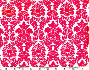 35 inches, Pink Damask on White Cotton