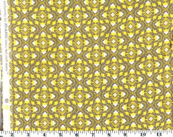 1 Yard 3 in, Yellow and Gray Floral Tile Cotton