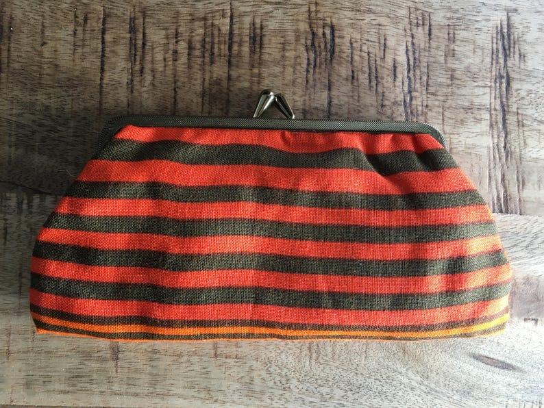 Vintage Bittersweet Orange and Brown Multicoloured Horizontal Stripes Cotton Purse