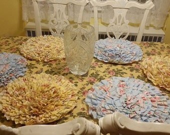 Custom made to order Ruffled Placemats vintage shabby chic floral place mats